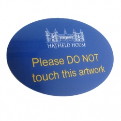 Gloss Blue Reverse Sign Infilled with White and Yellow Acrylic Paint