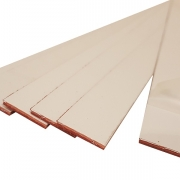 Brushed (Satin) Laminate White Surface, Red Base, Cut Strips